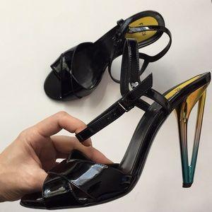 Fendi Iridia Patent Leather Ankle Strap Sandals 40